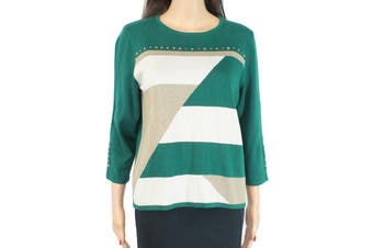Alfred Dunner Women's Sweater Green Size Medium PM Petite Pullover