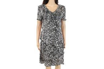 Connected Apparel Women's Dress Black Size 6 Sheath Leopard Print