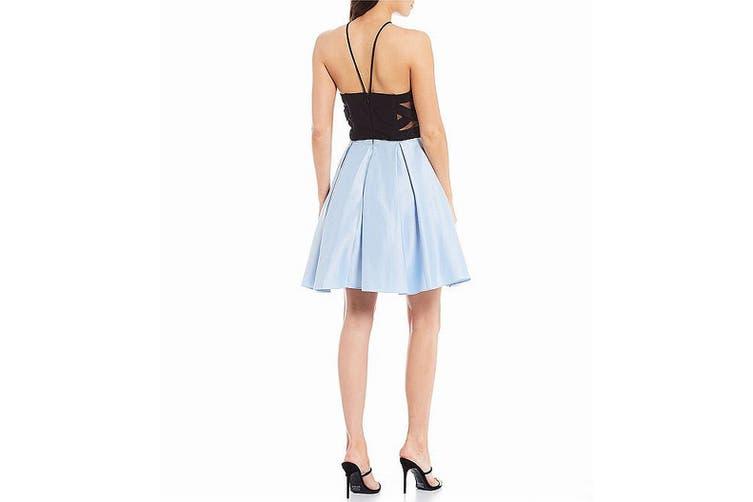 Blondie Nites Blue Size 11 Junior's Pleated Halter Sheath Dress