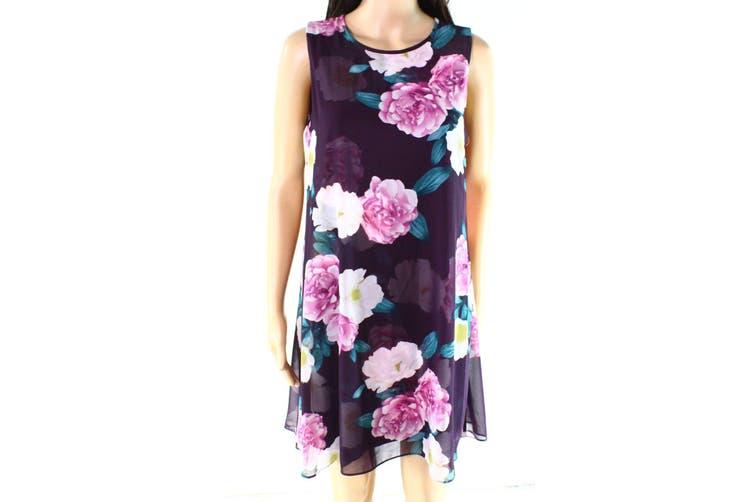Jessica Howard Women's Dress Purple Size 10P Petite Floral-Printed