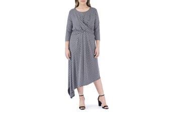 Bobeau Women's Dress Gray Size 1X Plus Sheath Clara Drape Stripe Midi