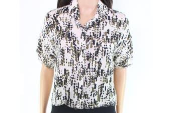 cloth & stone Women's Top Raw-Seams Beige Size XS Button Down Shirt