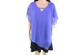 AGB Women's Blouse Purple Size Large L Gauze Poncho Top Overlay