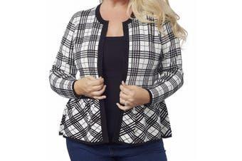 Belldini Women's Black Size 2X Plus  Long Sleeve Plaid Peplum Cardigan