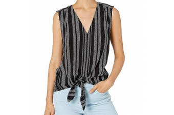 1.State Women's Top Black Size XL Tank Cami V-Neck Tie Front Striped