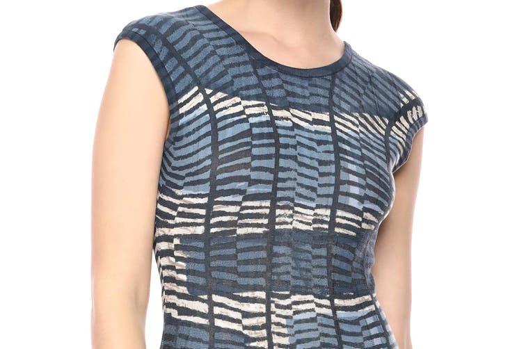 NIC+ZOE Women's Dress Knit Blue Size XL Sheath Mesmerize Twirl