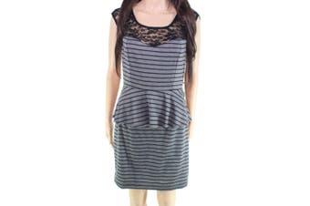 BCX Black Gray Size 9 Junior Peplum Striped Knit Lace Sheath Dress