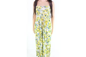 blue island Women's Jumpsuit Yellow Size Small S Smocked Floral