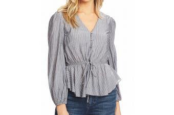 1. State Women's Blouse Gray Size Medium M Striped Peplum Cinched Waist