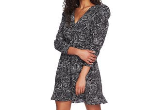 1. State Women's Dress Gray Size 0 Sheath Snake Print Tie Waist