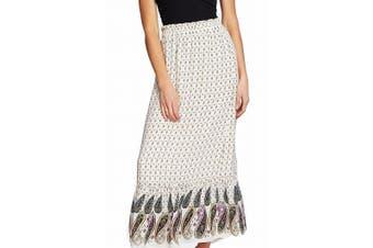 CeCe Women's Skirt Beige Size Small S Ruffled Hem Paisly Print Maxi