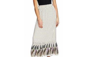 CeCe Women's Skirt Beige Size Large L Mosaic Paisley Ruffled Maxi