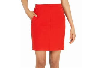 Anne Klein Women's Skirt Cherry Red Size 12 Textured Poppy Pencil