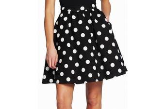 CeCe Women's Skirt Black Size 8 A-Line Fit & Flare Dappled Polka Dot