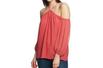 1. State Women's Blouse Coral Orange Size Medium M Cold Shoulder