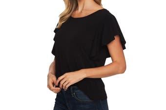 CeCe Women's Blouse Midnight Black Size XXL Flounce Sleeve Tie Back