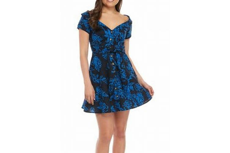 Free People Womens Dress Blue Size 2 Sheath Floral A Thing Called Love