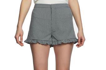 1. State Women's Shorts Black Size 6 Plaid Printed Gingham Ruffled-Trim