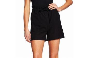 CeCe Women's Shorts Black Size Large L Drawstring Paperbag Waist