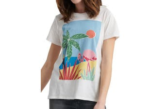 Lucky Brand Women's Top White Size XS Knit Tropical Crew Neck Tee