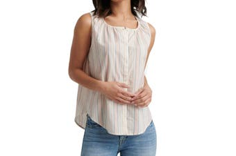 Lucky Brand Women's Top Beige Size Small S Tank Striped Button Down