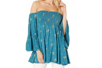 Free People Women's Tunic Blue Size Large L Off-Shoulder Floral Smocked