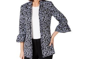 Nine West Women's Topper Jacket Black Size 4 Floral Bell Sleeve