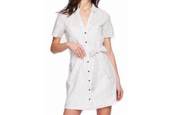 1. State Women's Shirt Dress White Size Large L Striped Button Down