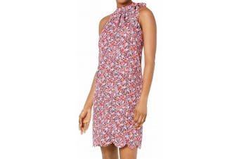 Maison Jules Women's Dress Red Size XS Shift Tie-Neck Scalloped-Hem
