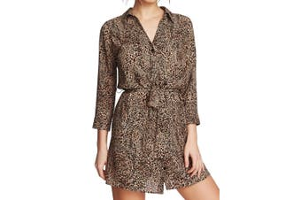 1. State Women's Shirt Dress Brown Size Large L Belted Leopard Print