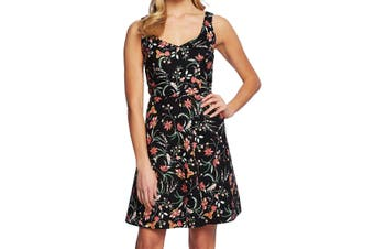 CeCe Women's Dress Black Size XL A-Line Fit & Flare Floral Marrakesh