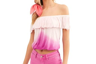 Free People Women's Blouse Pink Size Medium M Cropped Top Off Shoulder