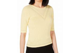 Maison Jules Women's Sweater Yellow Size XS Tonal Intarsia Pullover
