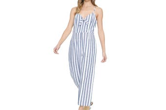 Sanctuary Women's Jumpsuit Blue Size 10 Striped Bow Front Take Away