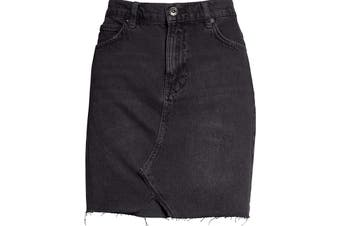 Free People Women's Skirt Solid Black Size 31 Hallie A-Line Denim