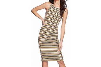 1. State Women's Dress Beige Large L Dialogue Striped Bodycon Sheath