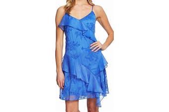 CeCe Women's Dress Blue Size XS Ruffle Tropical Embossed A-Line