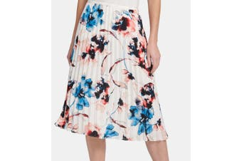DKNY Women's Skirt White Size 12 Waterpaint Floral Pleated A-Line