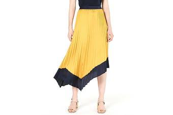 Bar III Women's Skirt Yellow Size 12 Pleated Tipped Midi Asymmetrical