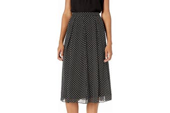 Anne Klein Women's Skirt Black Size 12 Polka Dot Pleated Pintuck A-Line