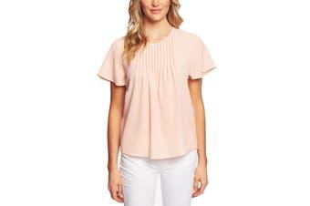 CeCe Women's Blouse Salmon Pink Size XS Pintuck Crepe Keyhole Back