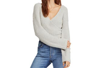 Free People Women's Sweater Gray Size Large L Sensual Faux Wrap