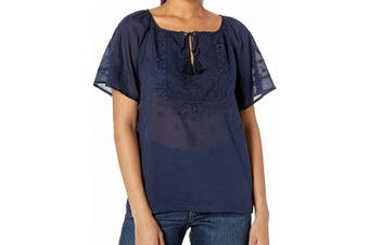 Lucky Brand Women's Blue Size Large L Embroidered Flutter Sleeve Blouse