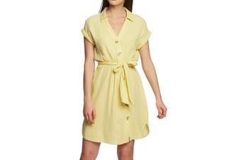 1. State Women's Yellow Size Large L Asymmetric Button A-Line Dress