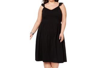 City Studio Women's Black Size 2X Plus Crochete Sleeve A-Line Dress