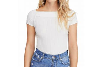 Free People Women's Blouse Soft White Medium M Ribbed Square Neck
