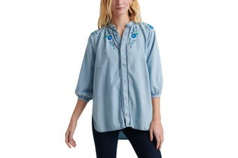 Lucky Brand Women's Top Blue Size Small S Denim Floral Button Down