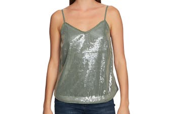 1. State Women's Top Olive Green Size XL Sequin V-Neck Spaghetti Tank