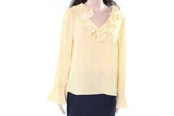 CeCe Women's Shirt Yellow Size Medium M Printed Bell Sleeve Blouse
