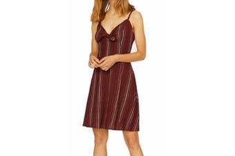 Sanctuary Women's Red Size 8 Take Away Linen Blend A-Line Dress